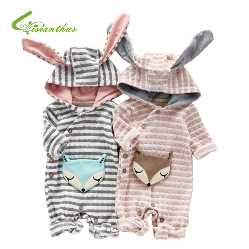 2017 New Style Cute Baby Rompers Autumn Long Rabbit Ears Stripe Hooded Jumpsuit Newborn Babies Boys Girls Cotton Infant Clothing warm thicken baby rompers long sleeve organic cotton autumn