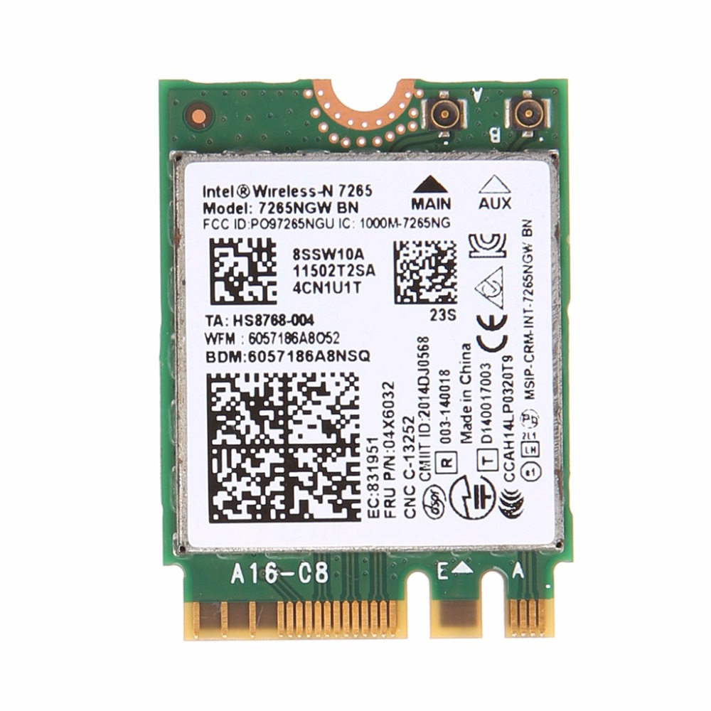 For Intel Wireless-N 7265 7265NGW BN Dual Band 2x2 Wi-Fi Bluetooth 4.0 WiFi Card