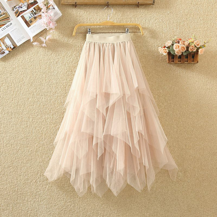 Women irregular Tulle Skirts Fashion Elastic High Waist Mesh Tutu Skirt Pleated Long Skirts Midi Skirt Saias Faldas Jupe Femmle 16