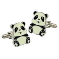 Najwyższej klasy piękne spinki do mankietów czarny biały panda modelowanie emalia spinki męskie Francuski koszula garnitur strona codziennego użytku kula spinki do mankietów