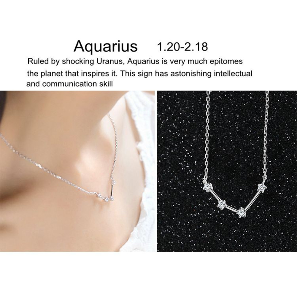 Shiny Rhinestone Women Horoscope Astrology Constellation Sign Guardian Necklace