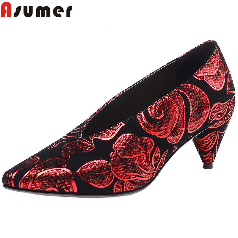 ASUMER 2019 fashion spring autumn shoes woman genuine leather shoes high heels shoes shallow ladies prom shoes big size 34-43 asumer big size 34 43 pumps women shoes pointed toe shallow genuine leather boots high heels shoes woman classic prom shoes
