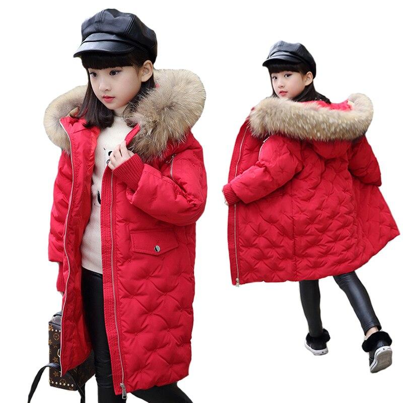 Cold Winter Jacket New 2018 Fashion Girl Winter Down Jackets Raccoon Fur Children Coats Warm Baby Thick Kids Outerwear 2017 fashion girl winter down jackets children coats warm baby 100