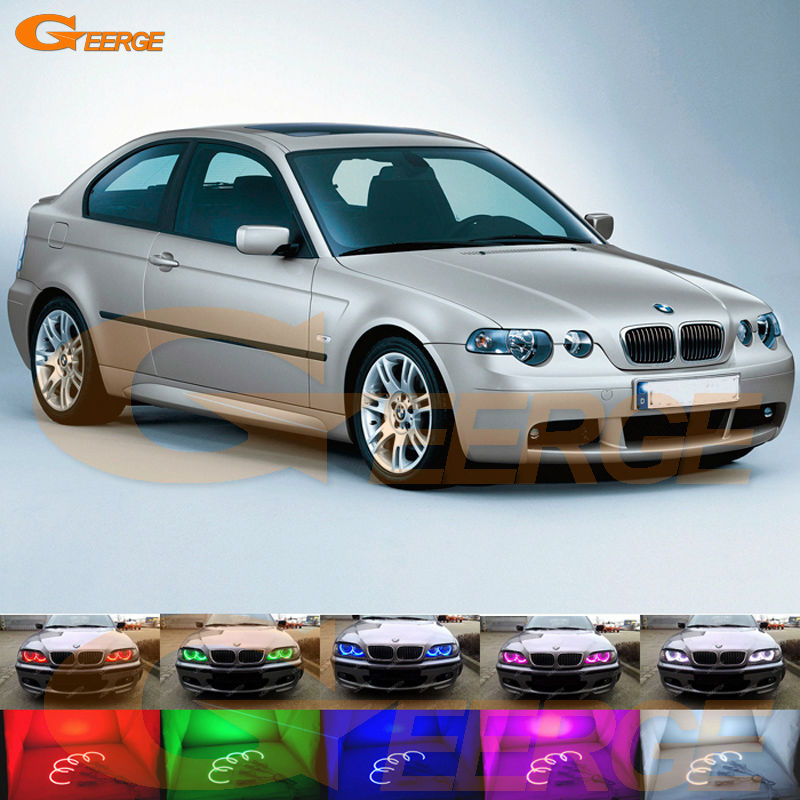 For BMW E46 3 Series Compact 2001-2005 Excellent Angel Eyes Multi-Color Ultra bright RGB LED Angel Eyes kit Halo Rings epman universal black 3 76mm polished aluminum fmic intercooler piping kit diy pipe length 600mm for bmw e46 ep lgtj76 600
