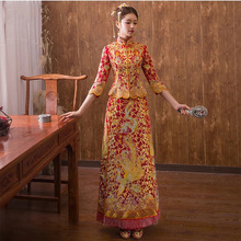 New Luxury ancient Royal Red embroidery Rhinestone Chinese bride wedding dress Qipao Chinese Traditional Dress Women Oriental