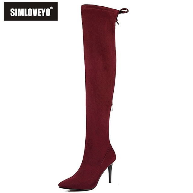 06757cb94a7 Stretch Suede Womens Thigh High Boots Stilettos Sexy Over the Knee Boots  Pointy Toe High Heel Long Boots Black Gray with Zipper