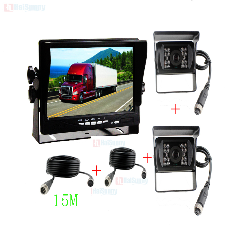 15M Video Cable DC12~24V Car Truck Bus Parts 7 Inch LCD Auto Parking Monitor With Bracket Aviation joint + IR Rear View Camera