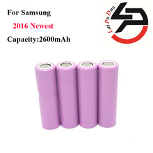 4 unids/lote 2016 100% mah de la batería recargable original para samsung 18650 2600 icr18650-26hm li-ion batería