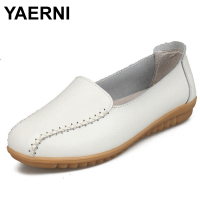 YAERNI Fashion Candy Colors Genuine Leather Shoes 2017 Summer Trendy Breathable Slip On Women Casual Flat