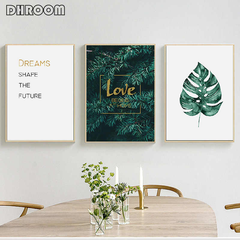 Nordic Tropical Leaves Canvas Painting Minimalist Golden Letter Wall Art Monstera Posters Prints Wall Pictures for Living Room