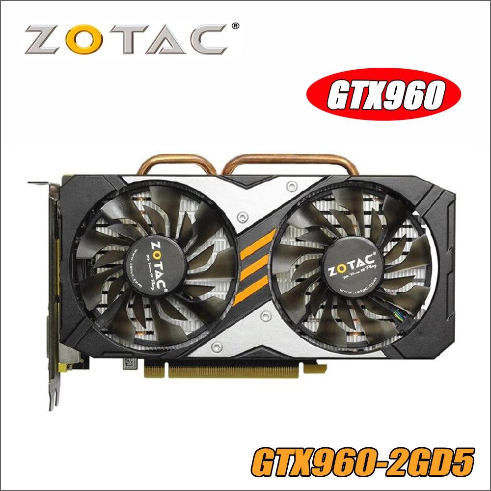 Tarjeta de vídeo ZOTAC GTX 960 2 GB 128Bit GDDR5 GM206 tarjetas gráficas GPU PCI-E para NVIDIA GeForce gx960 2G 1050ti 750 1050 ti gtx750