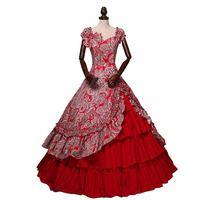 Средневековья готический, викторианской эпохи Платья для вечеринок с открытыми плечами красный цветочный узор Southern Belle бальное платье по и
