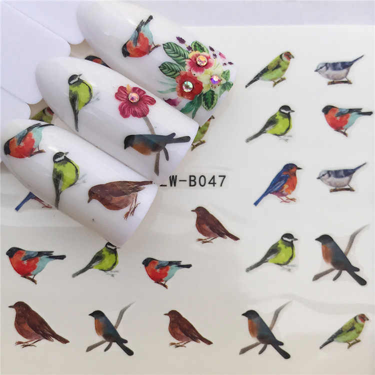 Sticker for Nails Water Decals Bird Nail Stickers Slider Art design Decoration Manicure Foil Adhesive Wraps tools Pegatinas