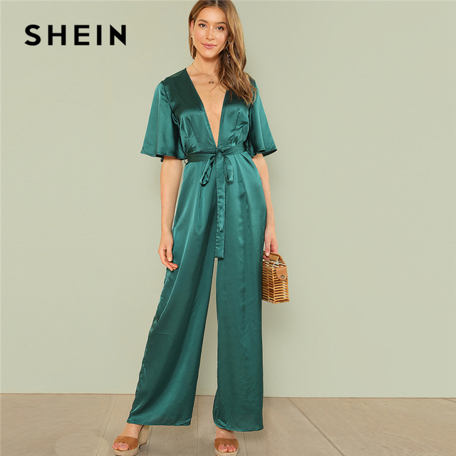 b94628ed9aa0 SHEIN Green Vacation Boho Bohemian Beach Plunge Neck Self Belted Palazzo  Butterfly Half Sleeve Summer Sexy