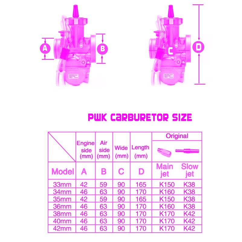 Image 2 - PWK карбюратор 33 34 35 36 38 40 42 мм гоночный карбюратор  Универсальный 2T 4T двигатель Байк для мотокросса мотоцикл Скутер ATV  QuadКарбюратор   -