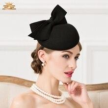 Lady Fedoras Woolen Hat Vintage Black Wool Pillbox Hat Wedding Party Fascinator
