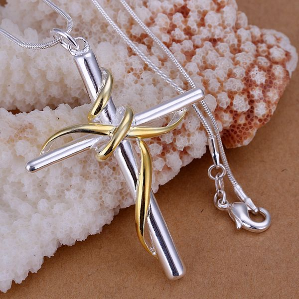 P088_2 Hot sale fine silver plated jewelry,Wholesale 925 charms free shipping fashion Separations twisted rope cross Pendants