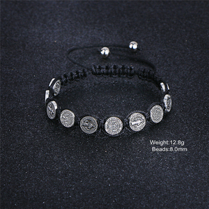 Image 2 - Komi Religious Catholic Handmade Braided Rosary Bracelet St Mary Metal Coin Beaded Bracelet Cross Classic Prayer Bracelets R 035
