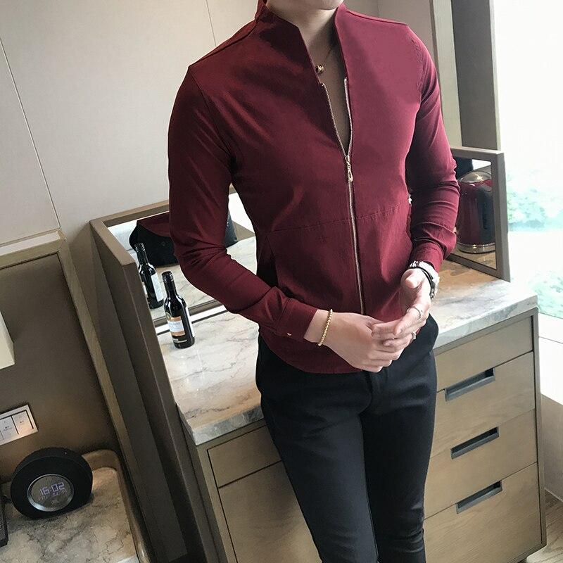 2018 Mandarin Kragen Shirts Rot Sexy Club Outfit Herren Blusas Masculinas Camisa Social Slim Fit Stehkragen Mens Zipper Shirts