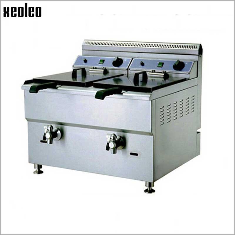Freidora comercial XEOLEO freidora mezcladora de Gas glp máquina de pollo frito de acero inoxidable patatas fritas para KFC 18L * 2