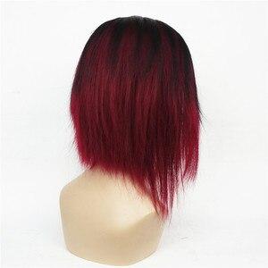 Image 4 - StrongBeauty của Phụ Nữ Ngắn Straight Bob wig Sâu rượu Mix Đen Tự Nhiên Tổng Hợp Full Tóc Giả