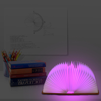 LAIDEYI 5 Color Creative Foldable Page LED Book Shape Night Light USB Charging Night Lamp For