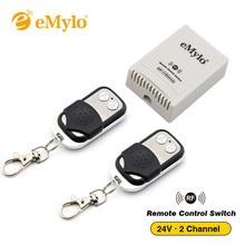 Emylo dc 24v rf interruptor inteligente controle remoto sem fio 433mhz transmissor 2 canais alternar interruptor momentâneo relé