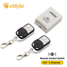eMylo DC 24V RF Smart Switch Wireless Remote Control 433Mhz Transmitter 2 Channels Toggle Momentary Switch Relay