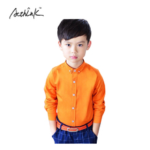 ActhInK Boys Solid Cotton Party Dress Shirts Long Sleeve Formal Wedding Shirts for Boys Brand Kids 4Color Casual Clothing, MC012