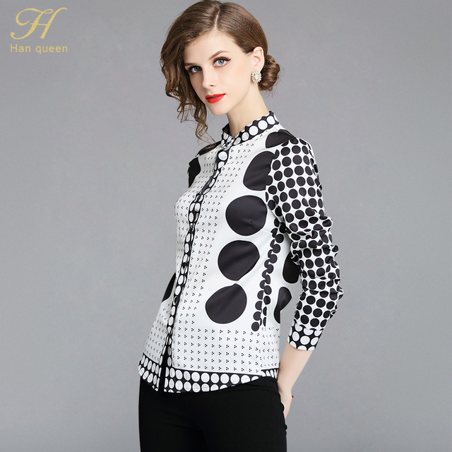 ed0e90738 H Han Queen New Arrival Dot Print Shirt Women Blouse Vintage Work Casual  Tops Blouses Plus Size Women Business Shirts