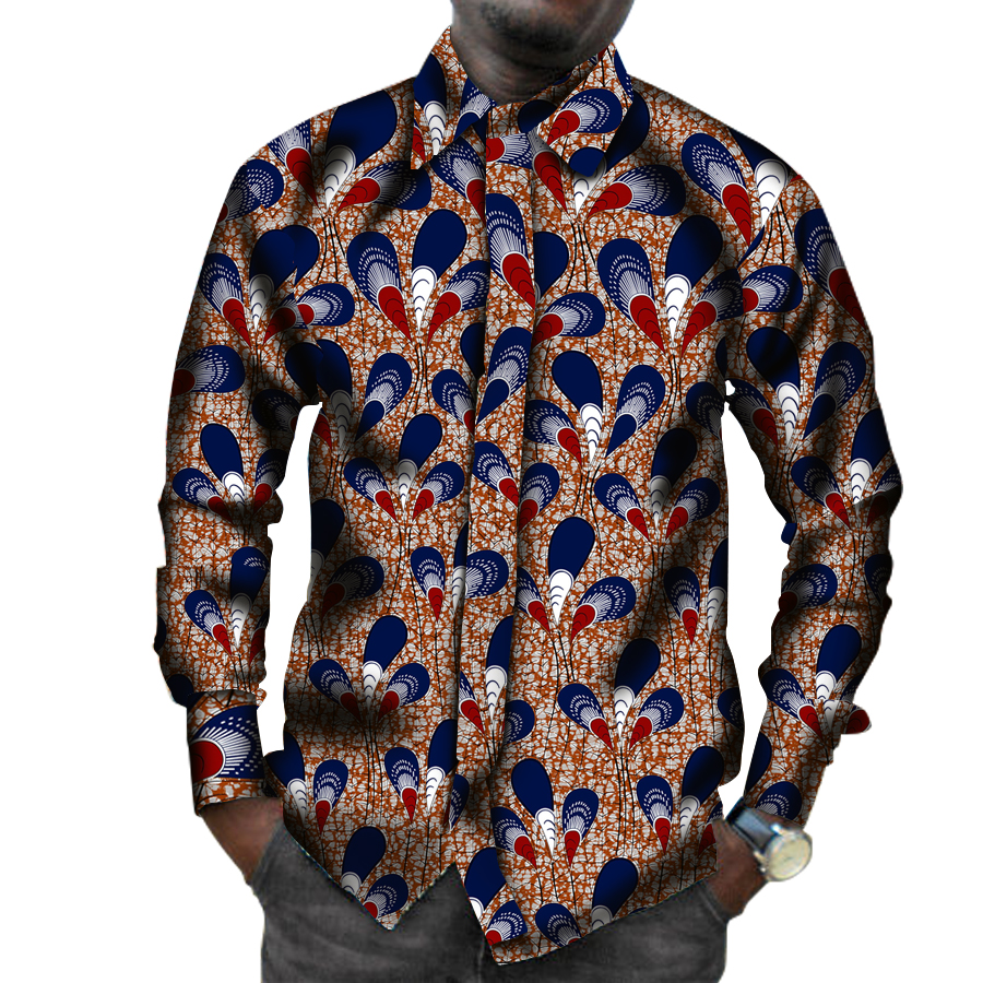 Mens African Print Shirts Africa Festive Pattern Long Sleeve Shirts Men Fashion Africa Clothing Customize ...