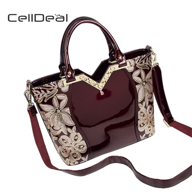 CellDeal New Female Patent Leather Bag Europe and the United States High-end Middle-aged Tide Package Leather Ladies Bag new tide lingge europe and the united states fashion leather handbag ladies cross section cowhide shoulder slung small square ba