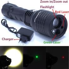 2016 New 3 in 1 flashlight red Green Laser Flashlight Pointer light Tactical Hunting Adjustable flash light lazer Lantern