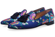 купить SHOOEGLE Hot Sale Embroidered Loafers Men Smoking Slippers Male Wedding and Party Dress Shoes Size Euro 38-46 Free Shipping дешево