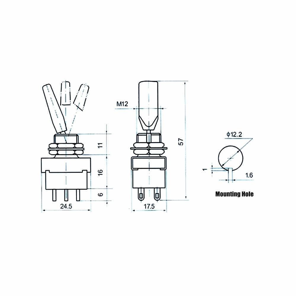 1 stücke KN3-203 kippschalter 3 Positionen rocker AUF-WEG-AUF 6pins DPDT 3A/250V griff Schalter