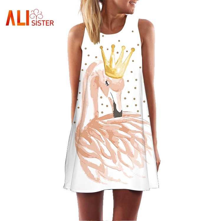 0938359a2d ... 2019 Summer Dress Flamingo Floral Print Boho Dresses For Women Casual  Beach Sundress Sleeveless O- ...
