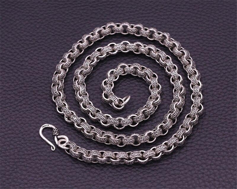 8 мм ширина 100% чистое 925 пробы Серебряное ретро ожерелье s для мужчин ожерелье из стерлингового серебра аксессуары 20 26 дюймов