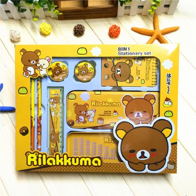 Cute Cartoon Bear Nursery School Supplies Stationery Gift Sets Primary Children Prizes