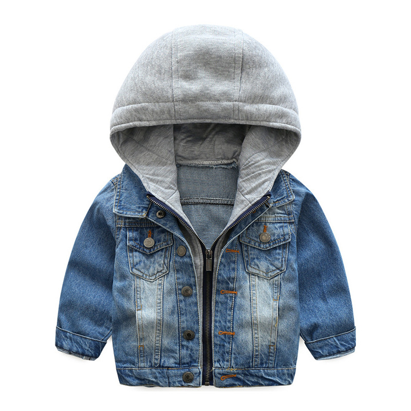 Джинсовая куртка для мальчиков Дети длинный рукав; пуговицы пальто куртки Дети Весна теплый толстый ветрозащитный с капюшоном для мальчико...