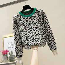 MUMUZI crewneck sweater women pullover leopard knitted sweaters 2019 winter fashion long sleeve casual hit color jumpers