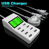 LCD 46W 100 240V 9.2A LCD Universal 8 USB Port AC Power Adapter Socket Smart Wall Charger For Mobile Phone Tablet US EU UK Plug