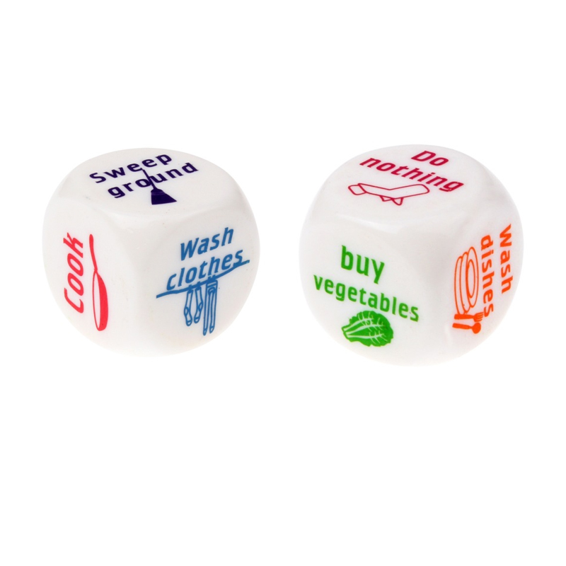 25mm Dice Game Toy Cute Familiy Housework Dice Division of Housework Dice For Funny Couples Families Board Game Dice image