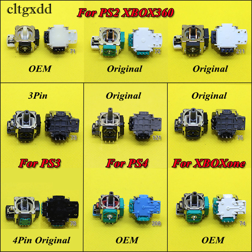 Cltgxdd 1PCS For Xbox 360 Xboxone For PS2 PS3 PS4 Pro PS4pro Controller 3D Analog Joystick Stick Sensor Repair Parts