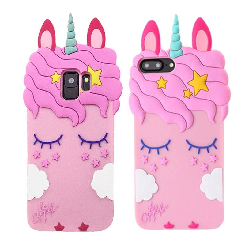 3D Unicorn Case For Samsung Galaxy S8 S9 Plus S7 Edge J3 J5 J7 2016 2017 Prime A8 J2 Pro 2018 Silicone Case Soft Cartoon Cover