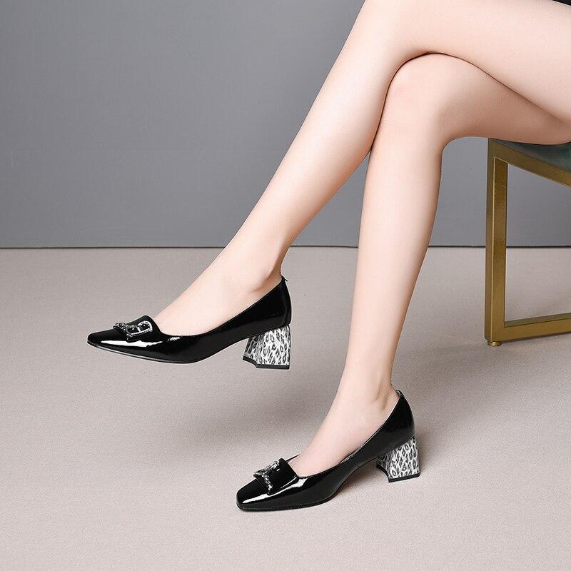 En Épais Cuir Avec Cm 2019 Quatre Nouvelles Femmes Lady Métal Casual Talons Les Noir Chaussures Véritable Saisons blanc 6 1w1Ezx