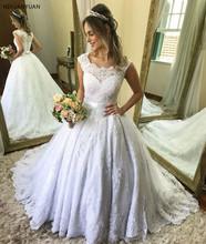 Księżniczka koronkowe suknie ślubne suknia Scoop rękawy cap aplikacje kraj suknie ślubne 2020 suknie ślubne Vestido De Novia tanie tanio NIXUANYUAN Bez rękawów Koronki Sweep brush pociąg Długość podłogi zipper Suknia balowa Cap sleeve WD-0105 JiangSu China