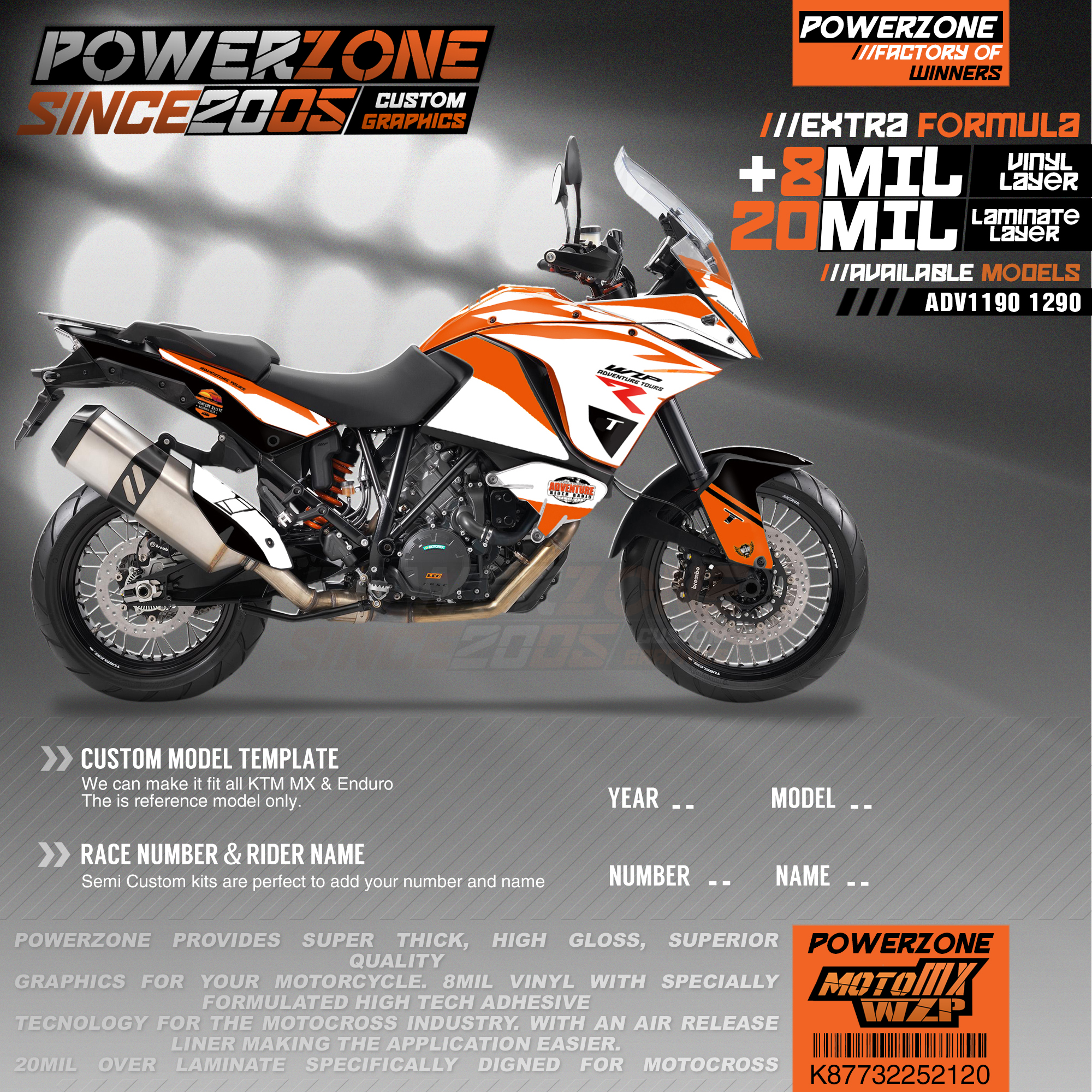 PowerZone Custom Team Graphics Backgrounds Decals 3M Stickers Kit For KTM ADV 1050 1090 1190 1290 120