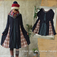 Spring Autumn Japanese Loose Kawaii Cotton Linen Lace Patchwork Plaid Lolita Dress Women Mori Girl Cute