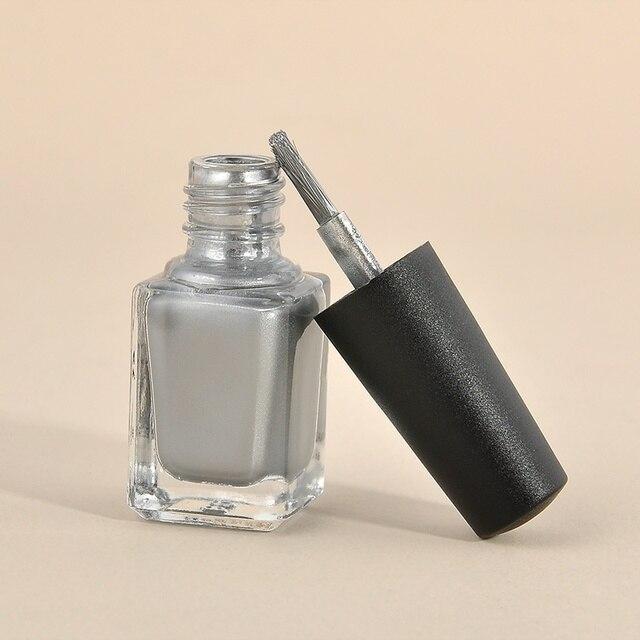 2 Unids Uñas de Gel de Uñas Color Plata Espejo Cromo Efecto Barniz + ...