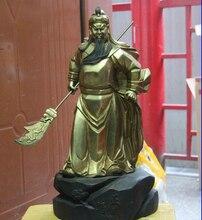 free shipping s S3326 Chinese Copper Bronze Feng Shui Guan Gong Guan Yu Warrior God statue Hold Sword